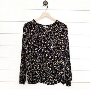 Gap old navy black floral long sleeve blouse